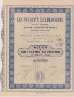 Les Produits Cellulosiques - Action De 500 Fr  -1934 - Actions & Titres