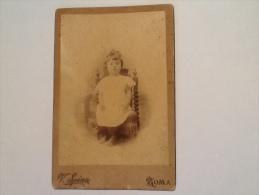 FOTO RARA DI BAMBINA DEL 1886 FOTOGRAFIA ARTISTICA VINCENZO SPINA ROMA - Antiche (ante 1900)