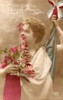 MILITARIA - GUERRE 1914-1918- BONNE ANNEE  FEMME AU DRAPEAU - -PATRIOTIQUE - Guerre 1914-18