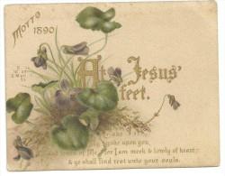 """""""at Jesus' Feet"""" MOTTO 1890, Verset De La Bible Comme Une Maxime, Violettes - Andachtsbilder"""