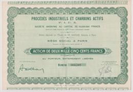 Procédé Indusriels Et Charbons Actifs - P.I.C.A  - Action De Deux Mille Cinq Cents Frans   N°1207 - Aandelen