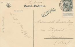 184/22 - Griffe D' Origine GENVAL Sur Carte-Vue GENVAL Les Eaux TP Armoiries BRUXELLES 1908 - Poststempel