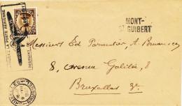 185/22 - Griffe D´ Origine MONT ST GUIBERT Sur Lettre TP Képi BRUXELLES 1933 - Slogan Poste Aérienne - Poststempel