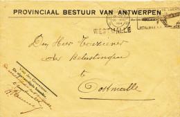186/22 - Griffe D´ Origine WESTMALLE Sur Lettre En Franchise Provinciaal Bestuur ANTWERPEN 1934 - Slogan Poste Aérienne - Poststempel