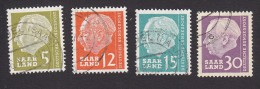Saar, Scott #267, 270, 271, 274, Used, Heuss, Issued 1957 - Ohne Zuordnung