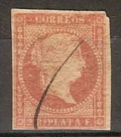 Antillas U 06 (o) Isabel II. 1856. Filigrana Lineas. - Cuba (1874-1898)