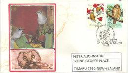 ÎLE CHRISTMAS. Oiseaux De Lîle (chouette Ninox Natalis) & Zostérops De Christmas, Sur Lettre Premier Jour 1996 - Gufi E Civette