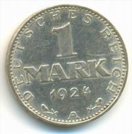 GERMANY , WEIMAR , 1 MARK 1924 A ,  SILVER COIN - [ 3] 1918-1933 : Weimar Republic