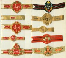 10 Alte Zigarrenbanderolen - Bauchbinden Der Zigarrenmarke Agio - Bagues De Cigares