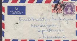 Burma Airmail Par Avion THE EAST ASIATIC Co, RANGOON Cover To Denmark 1 R Stamp (2 Scans) - Myanmar (Burma 1948-...)