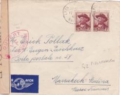 """N°495 MISTRAL Paire Sur Lettre AVION > MARRAKECH Maroc - CENSURE """"YF"""" Autorités De Contrôle - Marcofilie (Brieven)"""