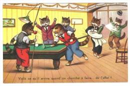CPA  Chats Humanisés Jouant Au Billard, Carte Humoristique, écrite En 1942 - Künstlerkarten