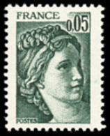 France Sabine De Gandon N° 1964,a ** Le 0.05fr  Vert Noir - Variété Gomme Tropicale - 1977-81 Sabine De Gandon