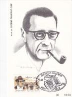 60011p1 - Carte Souvenir Maxima Simenon FDC - Belgique - Cob 2579 - Serain Philatélic Club N°256 - Maximum Cards