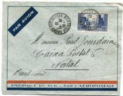 FRANCE LETTRE PAR AVION AMERIQUE DU SUD---PAR L'AEROPOSTALE DEPART MARSEILLE 28-11-33 POUR NATAL (BRESIL) - 1927-1959 Briefe & Dokumente