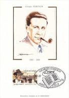 60011q - Carte Souvenir Philatélique Soie Simenon FDC - Belgique - Cob 2579 - Maximum Cards