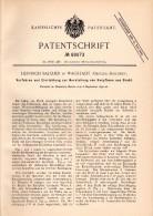 Original Patentschrift -  Heinrich Salcher In Wagstadt / Bilovec , 1892 , Knopfösen Aus Draht , Knöpfe , Knopf !!! - Maschinen