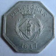 Jeton Monnaie De Nécessité Chambre Syndicale Des Commerçants 10c PERPIGNAN 1917 - Monétaires / De Nécessité