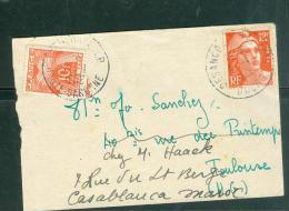 Lsc Affranchie Par 12 Francs Gandon En Janvier 1952 Taxe 10 Francs Gerbe ( Pour Rexpedition Pour Le Maroc) TAB9604 - 1945-54 Marianne De Gandon