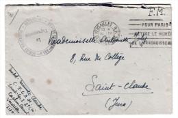 Marcophilie - Lettre F.M 1946, Cachet Vaguemestre, Centre De Préparation Aux Grandes écoles Militaires, Versailles - Marcophilie (Lettres)