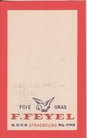 Paté FOIE GRAS F. FEYEL à STRASBOURG (Bas-Rhin) Feuille Bloc Note Facture Publicité - Alimentaire