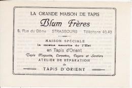 Maison De Tapis BLUM Frères (Judaïca-Juif-Juden) Rue Du Dôme à STRASBOURG (Bas-Rhin) Feuille Publicité - Publicités