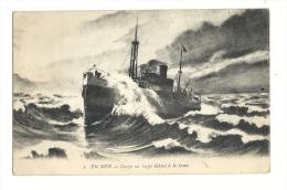 Cp, Bateaux, En Mer, Cargo Au Large Debout à La Lame - Commerce
