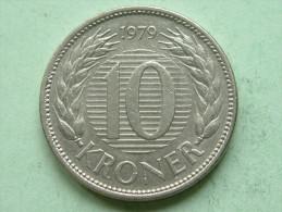 1979 - 10 Kroner / KM 864.1 ( Uncleaned Coin - For Grade, Please See Photo ) !! - Denmark