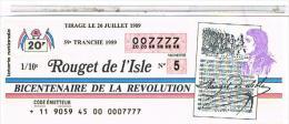 Billets De Loterie.. BICENTENAIRE REVOLUTION MIRABEAU .1989. TTBE....LO369 - Old Paper