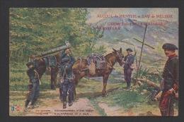 DD / MILITARIA / GUERRE 1914 - 18 / ARMÉE FRANÇAISE / CHASSEURS / DECHARGEMENT D´ UNE PIECE / PUB A L´ AVANT ET AU DOS - War 1914-18