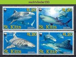 Nbj403s WWF FAUNA ´VISSEN FISH FISCHE´ HAAI TIGER SHARK TIGERHAI MARINE LIFE ST.KITTS 2007 PF/MNH - W.W.F.