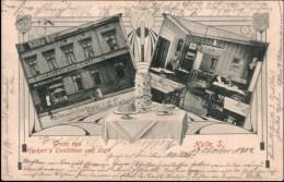 ! 1907 Alte Ansichtskarte Halle A.d. Saale , Gruss Aus Heckerts Conditorei Und Cafe, Eis, Baumkuchen - Halle (Saale)
