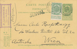247/22 - BRABANT WALLON - Griffe GENVAL Sur  Entier Armoiries Bruxelles - Cachet F. Leschevin , Villa Des Roses à GENVAL - Poststempel