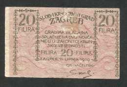 [NC] CROATIA - ZAGREB / ZAGABRIA - 20 FILIRA (1919) - Croazia