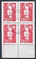 """France -Marianne De Briat Lettre """"D"""" - YT 2712 Obl. (bloc De 4) - 1989-96 Marianne Du Bicentenaire"""