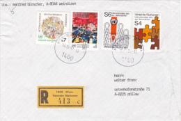 REGISTED COVER, LABELLS WIEN, 3 X STAMPS, NICE FRANCKING UNITED NATIONS, 1992, AUSTRIA - 1945-.... 2ème République