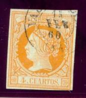 Año 1860 Edifil 52 4c Isabel II  Matasellos  Valladolid   14   Tipo II - 1850-68 Royaume: Isabelle II