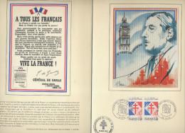 CHARLES DE GAULLE - ENCART FDC CINQUANTENAIRE APPEL 18 JUIN 40 - APPEL A LA RESISTANCE -  CACHETS PARIS/LILLE/St MANDE - - FDC
