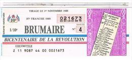 Billets De Loterie.. BICENTENAIRE REVOLUTION  BRUMAIRE.1989. TTBE....LO378 - Old Paper