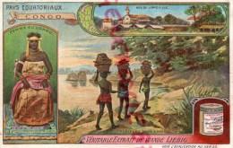 CHROMO - LIEBIG - CONGO VUE DE LIBREVILLE - PAYS EQUATORIAUX- FRAY BENTOS URUGUAY- COLON ARGENTINE - Liebig