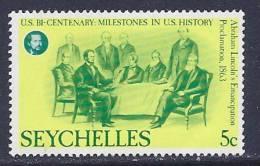 Seychelles, Scott  #374 MNH US Bicentinnial, 1976 - Seychelles (1976-...)
