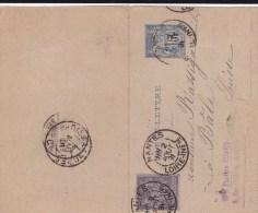 1891 - CARTE-LETTRE ENTIER POSTAL TYPE SAGE De NANTES Pour La SUISSE