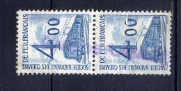 Timbre Pour Colis Postaux--n° 44- 4.00f  Bleu--Bande Verticale De 2 Timbres Oblitérés-- - Colis Postaux