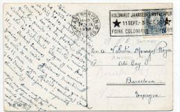 1926 - CP De ANVERS Avec FLAMME FOIRE COLONIALE D´ANVERS Pour BARCELONA (ESPANA) - Flammes