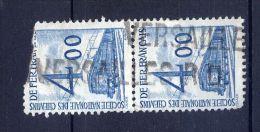 """""""Versailles""""-griffe Horizontale Sur Timbre Pour Colis Postaux--n° 44- 4.00f  Bleu-Bande Verticale De 2 Timbres Oblitérés - 1921-1960: Période Moderne"""