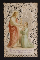 Antique Paper Lace Holy Card - Jesus And A Child - By Bouasse Lebel, Paris - Imágenes Religiosas
