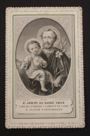 Antique Paper Lace Holy Card - St. Joseph Of The Sacred Heart -Made By L. Turgis - Imágenes Religiosas