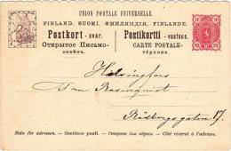 1895 - FINLAND - PARTIE REPONSE De CARTE ENTIER Avec REPONSE PAYEE - CARTE ANGLE GAUCHE - Finland