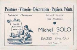 BAGES (PYR OR) CARTE DE VISITE ANCIENNE MICHEL SOLO PEINTURE VITRERIE DECORATION PAPIER PEINTS - Visiting Cards