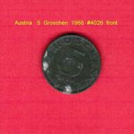 AUSTRIA   5  GROSCHEN  1968 (KM # 2875) - Austria